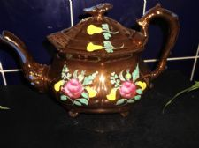 ANTIQUE COPPER LUSTRE TEAPOT RED HANDPAINTED ROSES LILIES SERPENT ? HANDLE